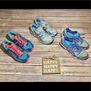ASICS GEL Sneakers 3 Pair Sz 7.5 & 8 GUC